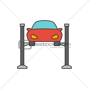 Car lifting flat line icon