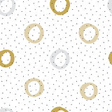 Seamless background with mustard color circles and ink texture.