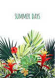 Floral vertical postcard design with guzmania and hibiscus flowers, monstera and royal palm leaves. Exotic hawaiian vector background.