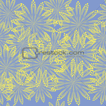 Blue abstract yellow flowers background