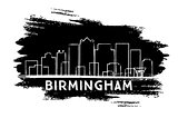 Birmingham Skyline Silhouette. Hand Drawn Sketch.