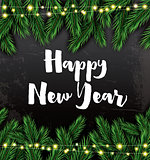 Happy New Year. Greeting Card with Fir Branches and Neon Garland