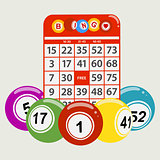 Drawning style bingo balls and red card background