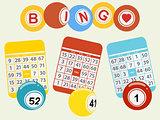 Three bingo balls and cards on light green background