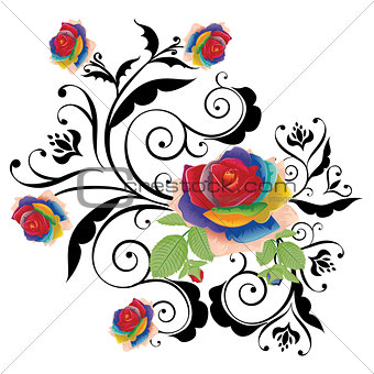 Abstract Rainbow Roses