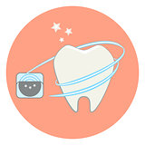 Cute flat tooth and dental floss icon