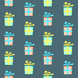 Colorful present box with bow seamless pattern