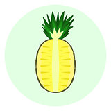 Half pineapple icon, pineapple split in a half
