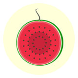 Half slice red watermelon icon