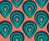 Abstract pattern with peacock feathers elements