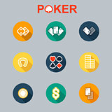 Vector set of casino icons longshadow