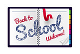 Back to school Illustration on a notepad background.