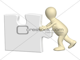 3d man with part of puzzle