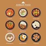 Set of korean food flat design. Asia street food illustration ba