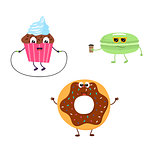 Set of funny characters from cupcake, donut, macaroon.