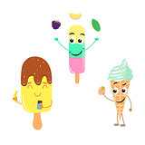 Set of funny characters from ice cream.