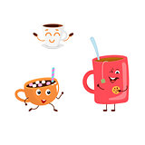 Set of funny characters from hot drink.