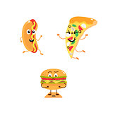 Set of funny characters from fast food.