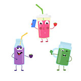 Set of funny characters from smoothies.