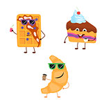 Set of funny characters from croissant, belgian waffle, cake.