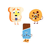 Set of funny characters from toast, biscuits, chocolate.