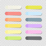 Sticky Office Paper Sheets Notes Pack Collection Set with Shadow Isolated on Transparent Background Vector Illustration