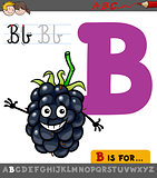 letter b with cartoon blackberry fruit