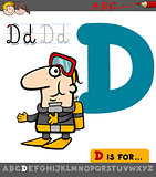 letter d with cartoon diver