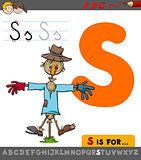 letter s with cartoon scarecrow