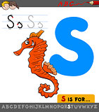 letter s with cartoon seahorse