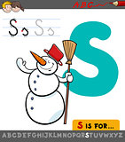 letter s with cartoon snowman