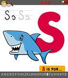 letter s with cartoon shark fish