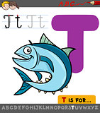 letter t with cartoon tuna fish