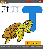 letter t with cartoon turtle animal