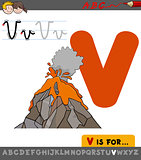 letter v with cartoon volcano