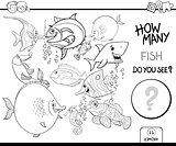counting fish coloring book activity