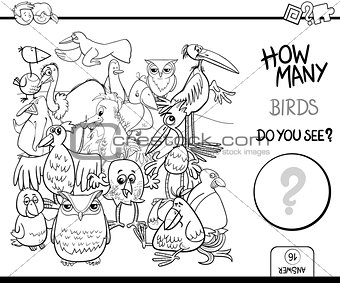 counting birds coloring book activity