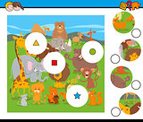 match pieces game with cartoon wild animals