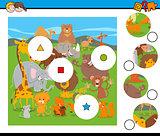 match pieces game with cartoon wild animals