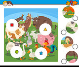 match pieces game with cartoon farm animals
