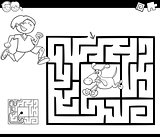 maze activity game with boy and dog