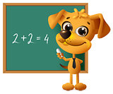 Yellow dog teacher stands at blackboard. Math lesson two plus two equals four