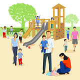 Families with small children in the playground