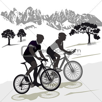 A couple on the Mountainbike Illustration
