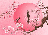 Cherry blossom tree with two bird.