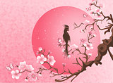Cherry blossom tree with bird.