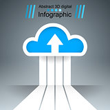 Dowvnload, cloud, arrows icon. Business infographics.