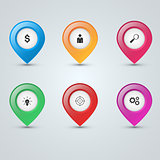 Pin icon dollar, people, loupe, bulb, target, gear