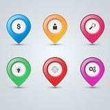Pin icon dollar, people, loupe, bulb, target, gear
