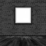 3D blank picture frame hanging on a brick wall
